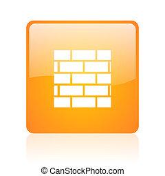 cortafuegos, cuadrado anaranjado, brillante, tela, icono