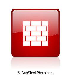cortafuegos, cuadrado rojo, brillante, tela, icono, blanco,...
