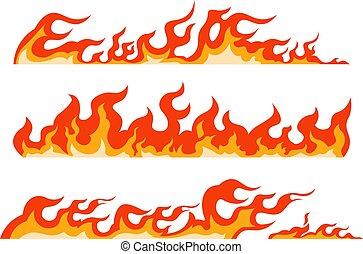 cortafuegos, frontera, línea, fuego, abrasador, vector, decorativo, llama, arder, pattern., seamless, flame., elemento, encuadrado, línea, naranja