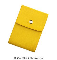 cortando, amarela, caderno, fundo, caminho, branca