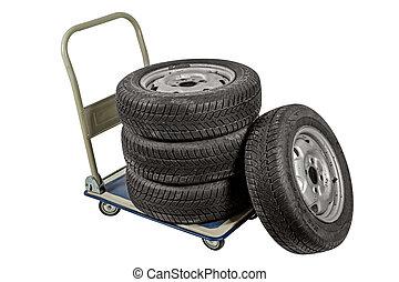 cortando, car, isolado, fundo, caminho, branca, rodas