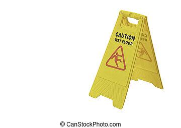 cortando, chão, isolado, aviso, fundo, molhados, pratos,...