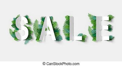 cortando, corte, path., folhas, venda, fazendo, papel, arte, verde, floral, branca, bandeira, 3d