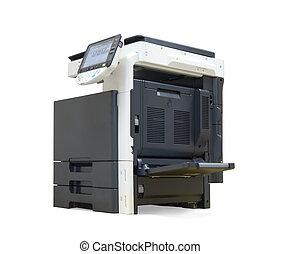 cortando, escritório, printer., isolado, digital, caminho, branca