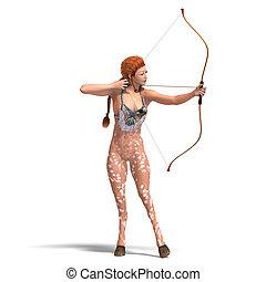 cortando, fantasia, sobre, veado, bow., fazendo, femininas, caminho, sombra, branca, 3d