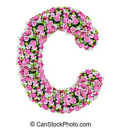 cortando, flor, c, alfabeto, isolado, caminho, branca