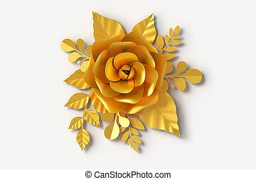 cortando, flor, ouro, fazendo, papel, floral, arte, estilo, path., 3d