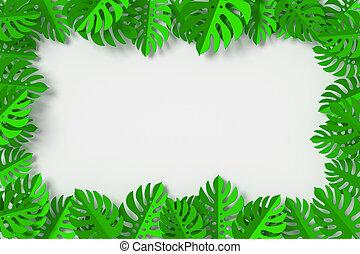 cortando, folhas, fazendo, formulou, fundo, verde, caminho, branca, 3d