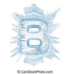 cortando, font., gelo, case.with, cristal, letra, caminho, b.upper