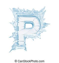 cortando, font., gelo, case.with, cristal, letra, caminho, p.upper