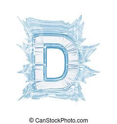 cortando, font., gelo, case.with, cristal, letra, d.upper, caminho