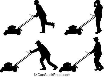 cortando gramado, homem