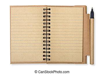 cortando, isolado, nota, reciclado, caneta, papel, branca, livro aberto, caminho