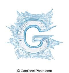 cortando, letra, g.upper, case.with, cristal, gelo, font., caminho