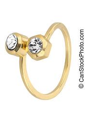 cortando, mulher, ouro, ajustável, dois, isolado, diamantes, fundo, included, caminho, anel, branca
