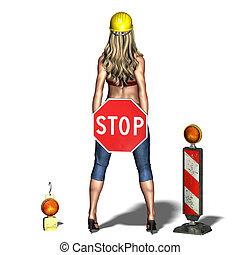 cortando, mulher, sobre, favor, jovem, fazendo, stop.,...