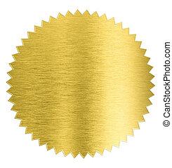 cortando, ouro, adesivo, metal, isolado, folha, selo,...