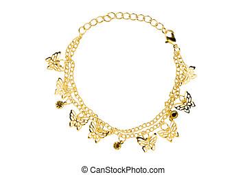 cortando, ouro, borboletas, pulseira, isolado, fundo, included, caminho, branca