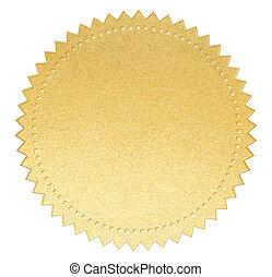 cortando, ouro, etiqueta, papel, selo, included, caminho