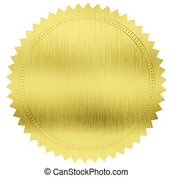 cortando, ouro, etiqueta, selo, included, caminho