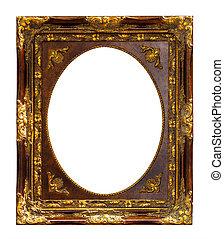 cortando, ouro, frame madeira, isolado, caminho
