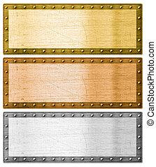 cortando, ouro, metal, bordas, caminho, prata, bronze