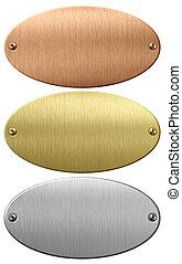 cortando, ouro, metal, bronze, pratos, included, caminho, placas, ou, oval