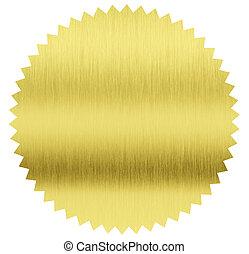 cortando, ouro, selo, folha, included, caminho