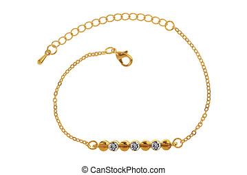 cortando, pulseira ouro, três, isolado, diamantes, fundo, included, caminho, branca