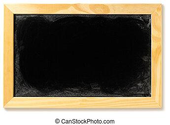 Cortando, quadro-negro, isolado, fundo, em branco, caminho, branca