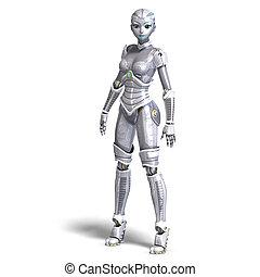 cortando, sobre, metálico, robot., fazendo, femininas,...
