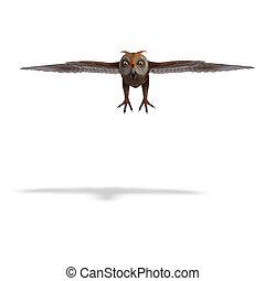 cortando, sobre, owl., fazendo, caminho, verde-marrom, sombra, branca, 3d