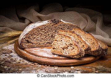 cortar, artesano, bread