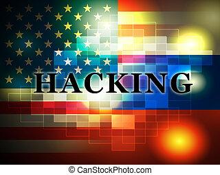 cortar, bandeira americana, mostra, hacked, eleição, 3d, ilustração