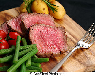 cortar, cena, filete, sirlion