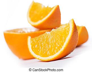 cortar, entero, naranjas