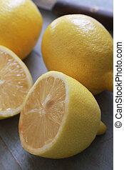 Cortar, fresco, limones