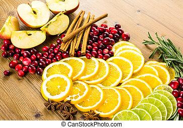cortar, fruta