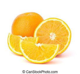 cortar, naranja, fruta, segmentos, aislado, blanco, plano de...