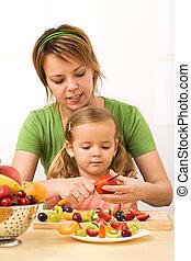 cortar, pequeno, menina mulher, frutas