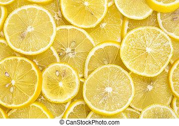 cortar, plano de fondo, maduro, limones