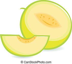 cortar, vector, entero, ilustración, melon.