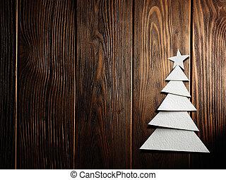 corte, árbol, papel, plano de fondo, navidad, afuera