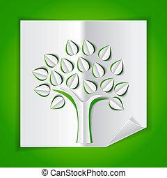 corte, árbol, papel, verde, hecho, afuera