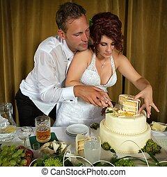 corte, a, bolo casamento