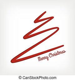 corte, abstratos, branca, árvore, papel, feliz, linha, natal