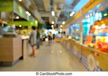 corte, alimento, defocus, bokeh, fundo, borrão, ou, loja