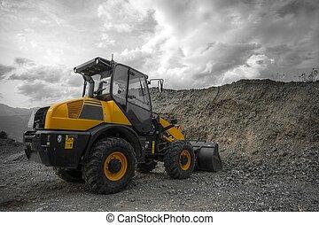 corte, -, amarillo, máquina, construcción, afuera