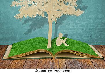 corte, antigas, ler, árvore, crianças, papel, sob, livro