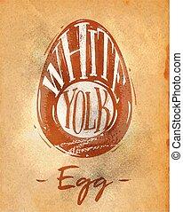 corte, arte, esquema, huevo